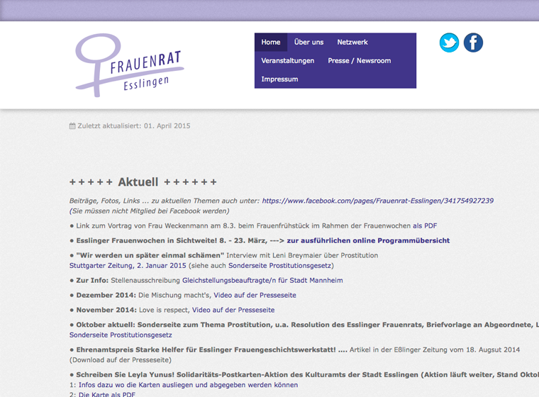 Screenshot Homepage Frauenrat